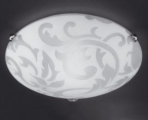 Deckenleuchte Ornamentik mit zarter Ornamentik aus Glas Durchmesser 40cm 2x60Watt