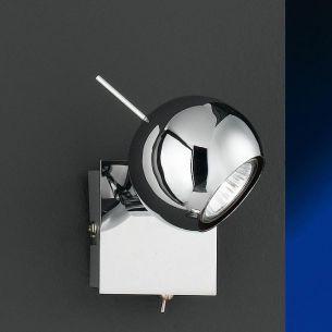 Wandleuchte in Chrom mit Direktschalter und schwenkbarem Leuchtenkopf, inkl.Leuchtmittel 1x50 Watt
