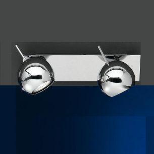 Wand-oder  Deckenstrahler  in chrom mit beweglichen Kugelspots, inkl. Leuchtmittel 2x50 Watt