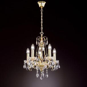 Kronleuchter mit Glasschälchen und Echtglasbehang, gold-antik, 5 flammig - NUR SOLANGE VORRAT REICHT