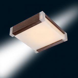 Energiesparende Deckenleuchte in Wenge-Optik, 21 Watt, inklusive Leuchtmittel, B-Ware mit optischen Mängeln
