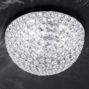 Deckenleuchte in Chrom mit facettiertem Glas, Durchmesser 40cm