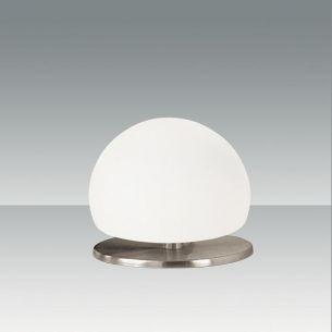 Design-Tischleuchte in Nickel satiniert mit weißem Glas weiß, Nickel, satiniert