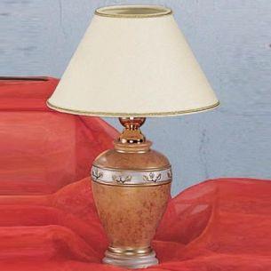 Keramik Vasenleuchte in Terracotta mit Chintzschirm