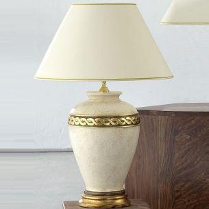 Keramik Vasenleuchte in Creme mit Goldkante