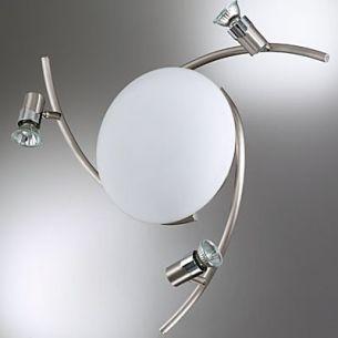 Design-Deckenleuchte modern diffuses Licht und 3 schwenkbare Strahler