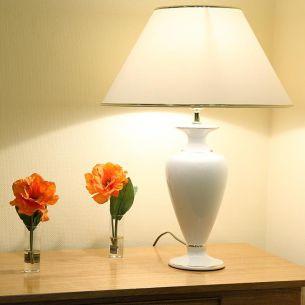 Vasenleuchte mit Keramikfuß in weiß mit Goldkante, Höhe 60cm