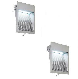 LED-Einbauleuchte mit steingrauer Aluminiumblende,  LEDs in weiß, 6500K LED weiß