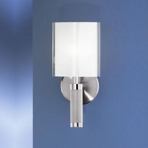B+M Wandleuchte mit Drehdimmer, in nickel matt mit Opalglas, Höhe 30cm