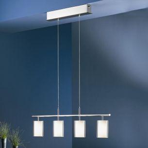 B+M Zugpendelleuchte massives Messing in nickel-matt mit weißem Opalglas, höhenverstellbar
