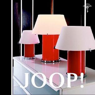 JOOP! CONE LIGHTS mit roter Opalglassäule und weißem Schirm - Tischleuchte wählbar in 3 Größen