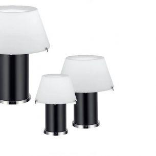JOOP! CONE LIGHTS mit schwarzer Opalglassäule und weißem Schirm, Tischleuchte wählbar in 3 Größen