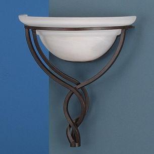 Wandleuchte im Landhausstil, rustikal in rostfarbig antik mit Alabasterglas in weiß