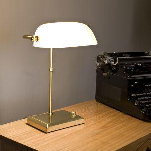 Bankerleuchte Bankerlamp - mit weißem Glas - über Drehdimmer dimmbar-Design