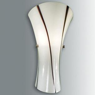Moderne Wandleuchte Weiß mit braunen Streifen weiß, A++ - E, Glas, mundgeblasen/mit Farbverlauf