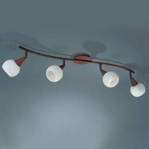 Energiesparender Strahlerbalken 4-flammig mit Kugelglas inkl.Leuchtmittel