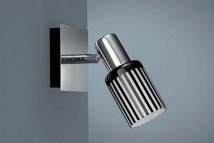 Energiespar Wandspot in chrom mit modernem Zylinderglas schwarz/weiß und inkl.Leuchtmittel