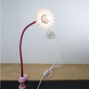 Kinder-Klemmleuchte in rose/ weiß - auch für Energiesparlampe