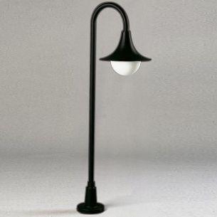 Wegeleuchte aus Aluminiumguss in schwarz, Opalglas - Höhe 120cm