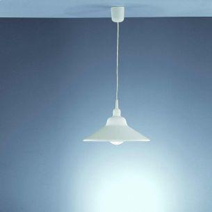 Pendelleuchte mit weißem Schirm aus Acrylglas, 32cm Durchmesser