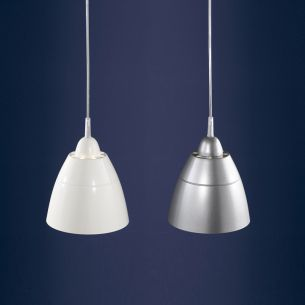 1-flammige Pendelleuchte aus Metall in der Farbe Creme-Weiß oder Titan-Silber wählbar - 19,5cm Durchmesser