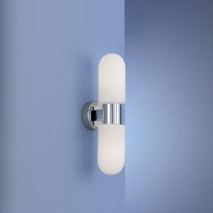 Wandleuchte mit Ober- und Unterlicht in Chrom mit mattem Opalglas - optimale Badbeleuchtung