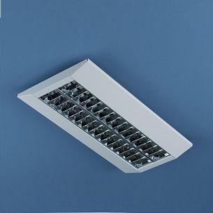 Raster- Deckenaufbauleuchte aus weißem Metall mit Doppelparabol-Spiegelraster - Länge 122cm - 2x28W
