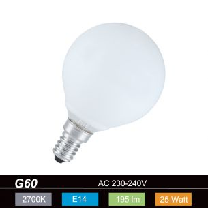 Glühlampe Leuchtmittel G60 Globe 60mm E14 opal weiß  25 Watt