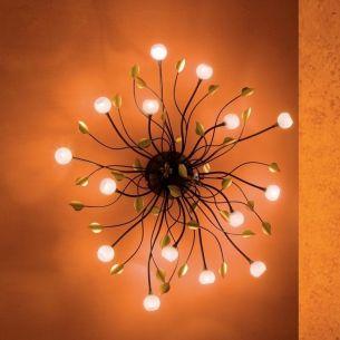 Deckenleuchte rostfarben in schöner Astform -15 flammig - inklusive Halogenleuchtmittel