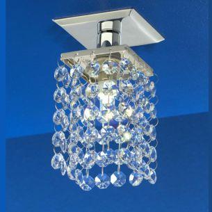 Deckeneinbauleuchte mit  hochwertigen Glaskristallen ausgestattet, inklusive Leuchtmittel