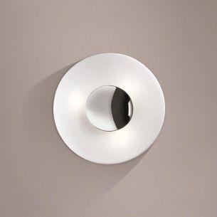 Runde Wand- oder Deckenleuchte mit Opalglas und Chrom Blende - in 32cm Durchmesser 2x 60 Watt, 32,00 cm
