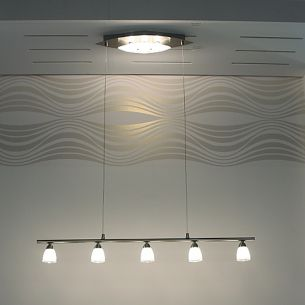 5-flammige Pendelleuchte mit Deko-Licht, getrennt schaltbar, inklusive Leuchtmittel