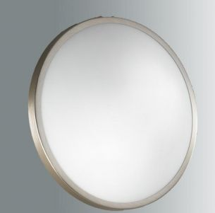 Deckenleuchte, Durchmesser 40cm,  Metalleinfassung in Nickel-matt stahlfarbig, Nickel-matt