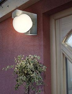 Edelstahl Aussenleuchte, Gartenlampe mit Glaskugel auch für Energiesparlampe geeignet