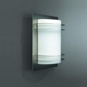 Wandaussenleuchte aus Edelstahl mit Opalglas - Höhe 27cm