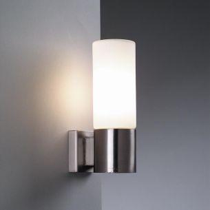 Moderne Wandleuchte mit Opalglas in Nickelmatt 1x 40 Watt, nickel