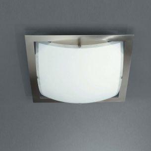Quadratische Wand-/Deckenleuchte - modern - Stahl gebürstet