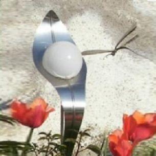 LED-Solar DESIGN Lichtblüte Irina handgeschliffen mit Vollbatt oder durchbrochenem Blatt