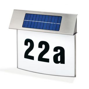 LED-Solar Hausnummernleuchte VISION im Topdesign mit bedruckbarer Leuchtfläche