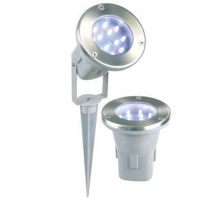 3-er Set LED Spot  aus  Edelstahl mit  Erdspieß oder zum Einbau