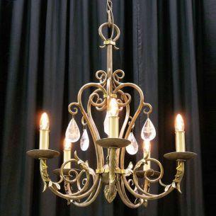 Kronleuchter hochwertige Schmiedekunst mit echten handgeschliffenen Kristallen, 5 flammig