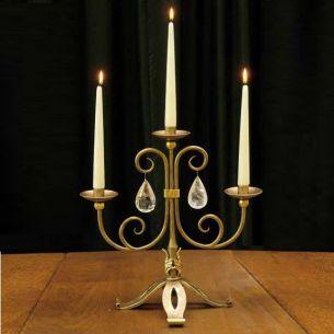 Kerzenleuchter Schmiedekunst mit echten handgeschliffenen Kristallen