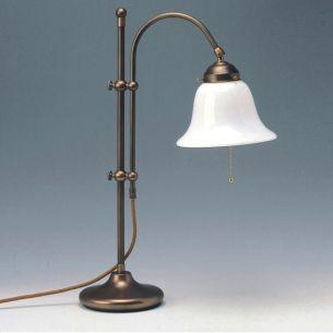 Höhenverstellbare Tischleuchte im klassisches Stil - mundgeblasenes Opalglas