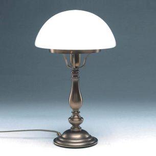 Hochwertig gearbeitete Tischleuchte in Altmessing - mundgeblasenes Opalglas