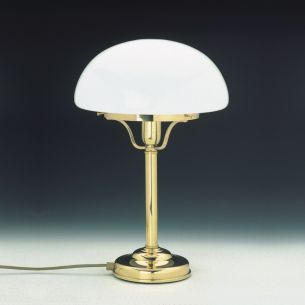 Stilvolle Tischleuchte mit opalem Glasschirm in Pilzform - Messing-poliert