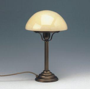 Stilvolle Tischleuchte mit opalem Glasschirm in Pilzform - bernsteinfarbenes Glas