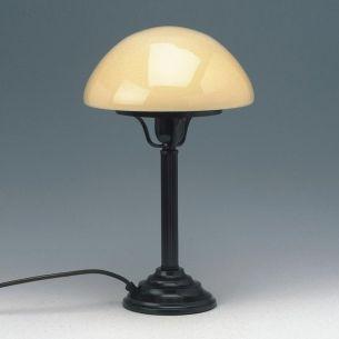 Stilvolle Tischleuchte mit bernsteinfarbenem Glasschirm in Pilzform - dunkelbrauner Leuchtenkörper