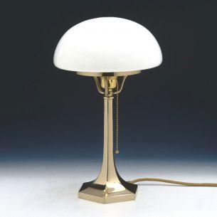 Tischleuchte in Messing-poliert  mit weißem, mundgeblasenen Opal-Glasschirm