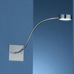 Wandeinbauleuchte mit Flexarm aus Metall in Edelstahl-Chrom mit Neutral- oder Warmweißem LED-Licht