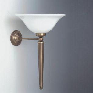 Wandleuchte in Altmessing mit Opalglas 30 cm